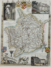 Load image into Gallery viewer, Monmouthshire - Antique Map by Thomas Moule circa 1848