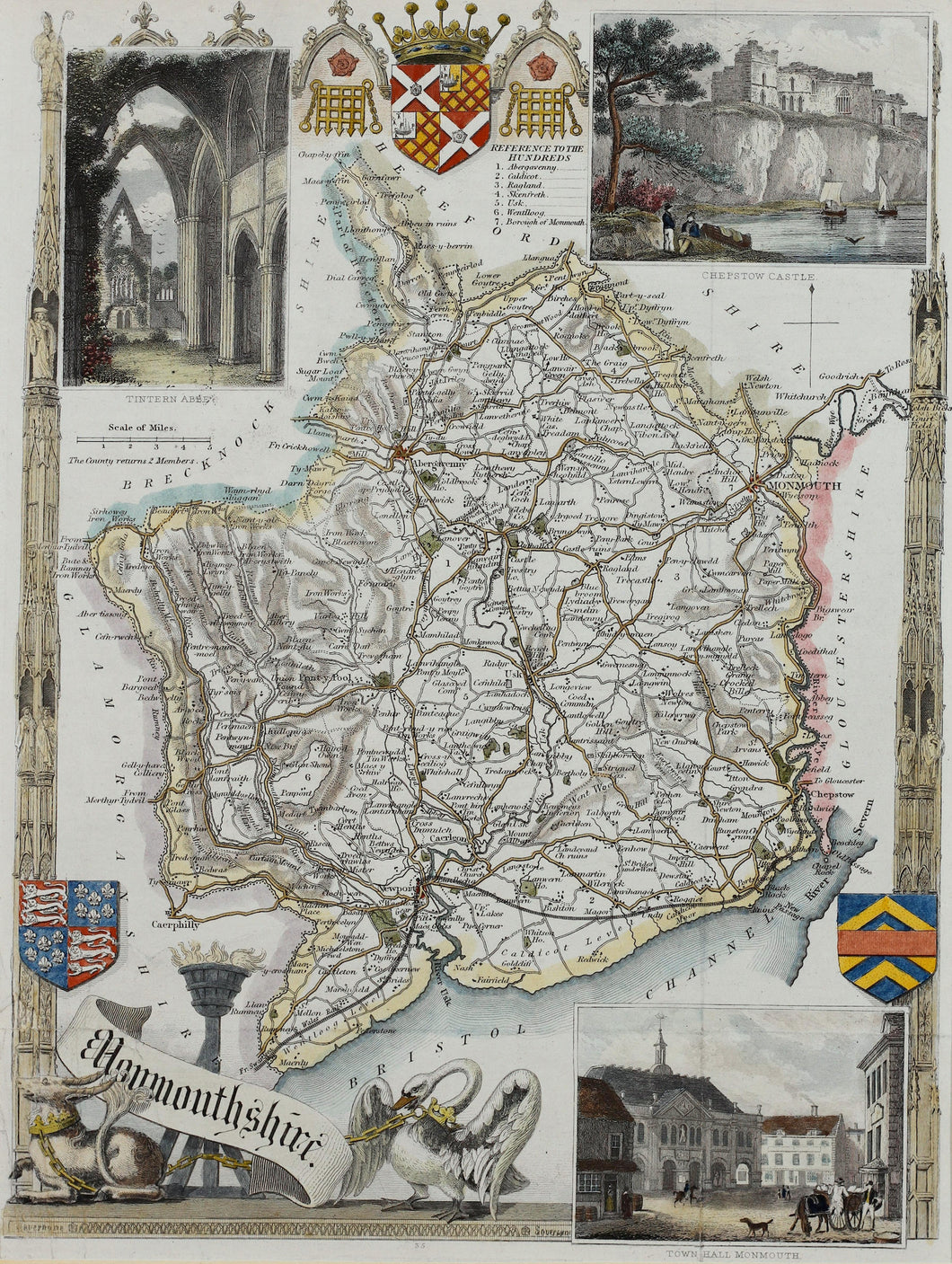 Monmouthshire - Antique Map by Thomas Moule circa 1848