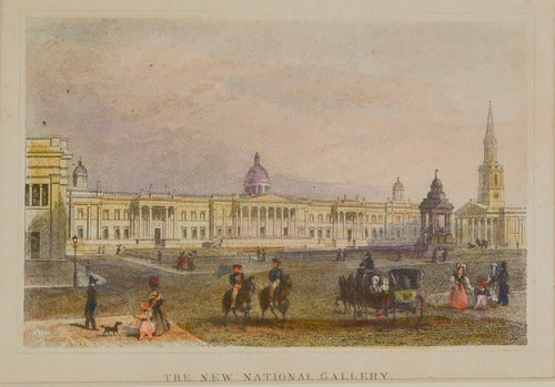 The New National Gallery - Antique Steel Engraving circa 1858