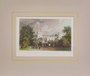 Naworth Castle Cumberland - Antique Steel Engraving circa 1844