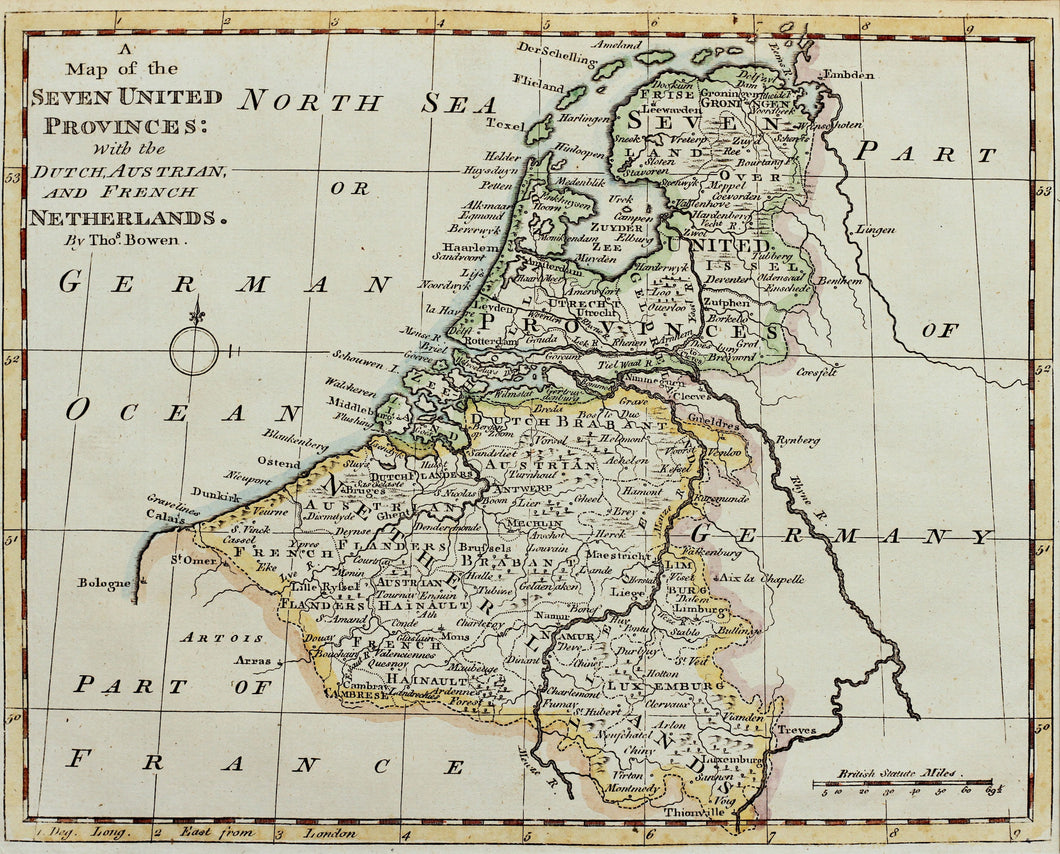 A Map of the Seven United Provinces - Antique Map of the Netherlands circa 1790