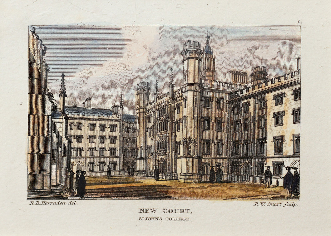 New Court, St Johns College - Antique Steel Engraving circa 1830s