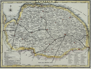 Norfolk - Antique Map for Dugdale, circa 1850