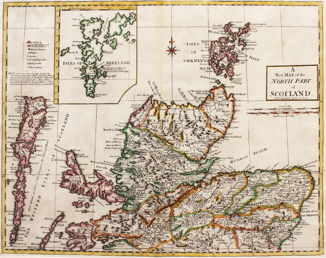 A New Map of the North Part of Scotland - Antique Map by A Johnston 1753