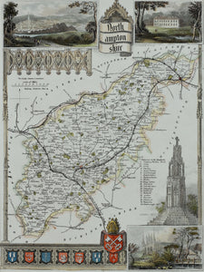 Northamptonshire - Antique Map by Thomas Moule circa 1848