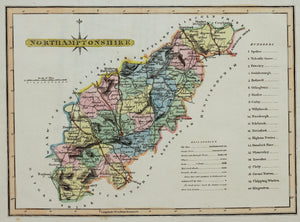 Northamptonshire - Antique Map by J Wallis circa 1812