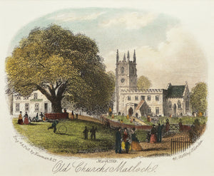 Old Church Matlock - Antique Steel Engraving circa 1869