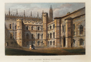 Old Court Kings College Cambridge - Antique Steel Engraving circa 1858