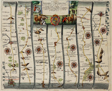 Load image into Gallery viewer, The Road from Oxford to Chichester - Antique Ribbon Map circa 1675