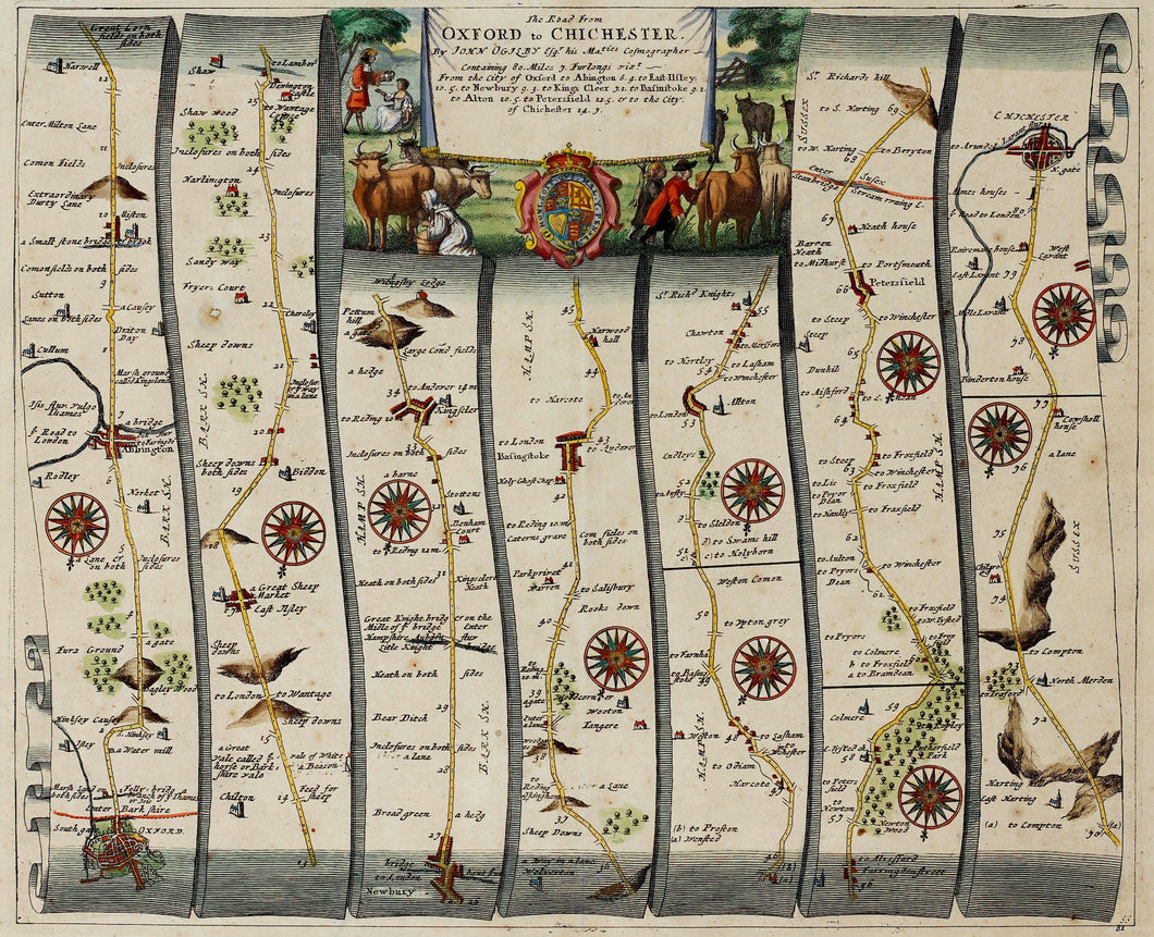 The Road from Oxford to Chichester - Antique Ribbon Map circa 1675