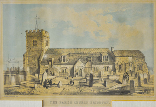 Parish Church Brighton - Antique Steel Engraving circa 1855