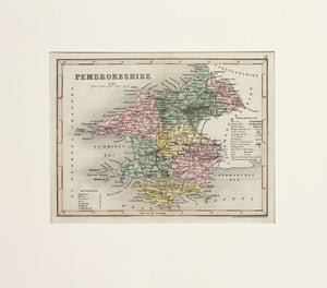 Pembrokeshire - Antique Map by J Archer circa 1846