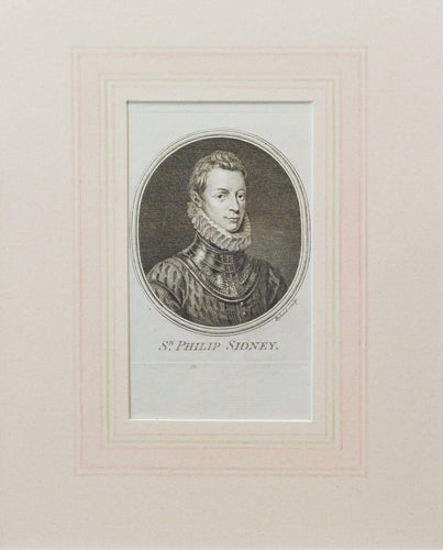 Sir Philip Sydney - Antique Copper Engraving circa 1780