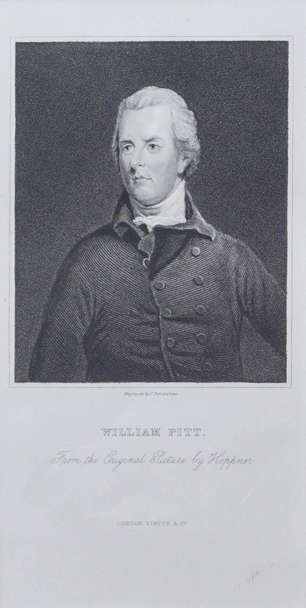 William Pitt the younger - Antique Stipple Engraving circa 1830s