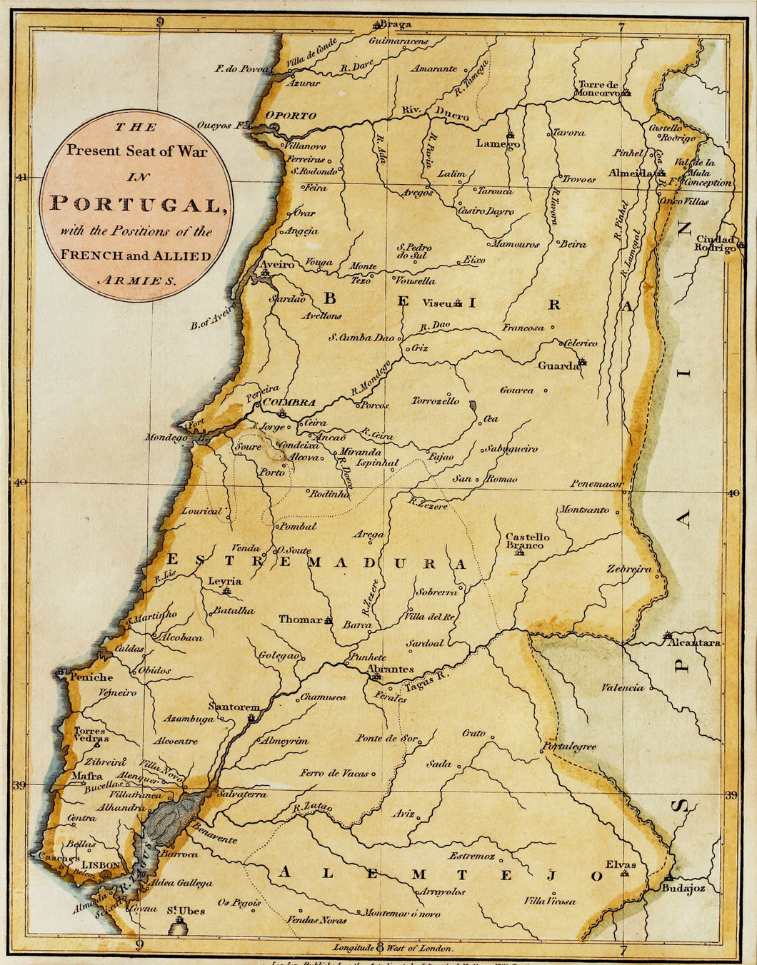 Portugal - Antique Military Map circa 1810