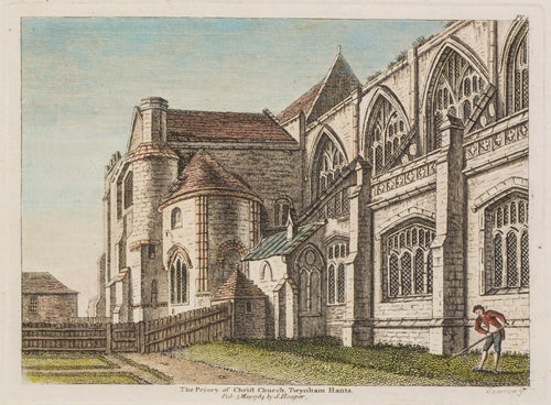 The Priory of St Christ Church Twynham - Antique Copper Engraving 1784