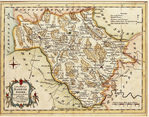 A New Map of Radnorshire - By T KItchin circa 1764