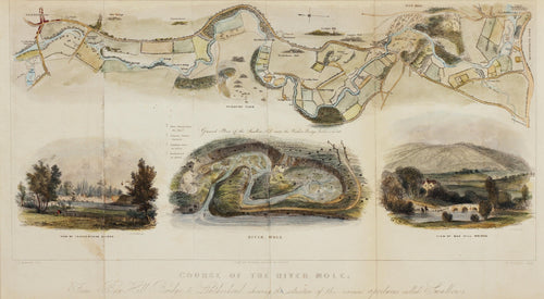 Course of the River Mole - Antique Map with Illustrations by N Whittock 1841