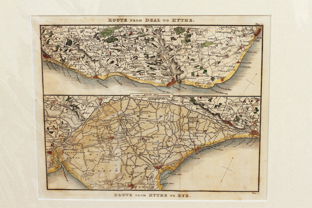 Two Route Maps of the Kent/Sussex Coast - Antique Map by Paterson circa 1824