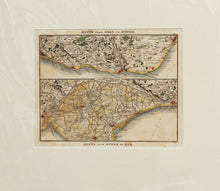 Load image into Gallery viewer, Two Route Maps of the Kent/Sussex Coast - Antique Map by Paterson circa 1824