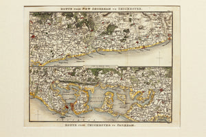 Two Route Maps of the Sussex Coast - Antique Map by Paterson circa 1824
