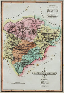 Rutlandshire - Antique Map by J Wallis circa 1814