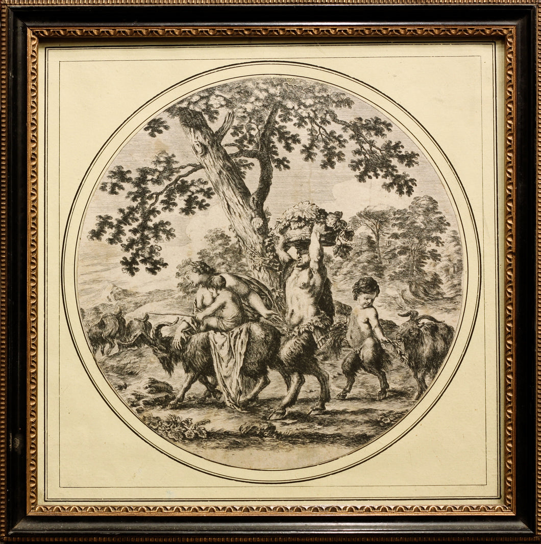 Satyr and Family Engraving published circa 1656