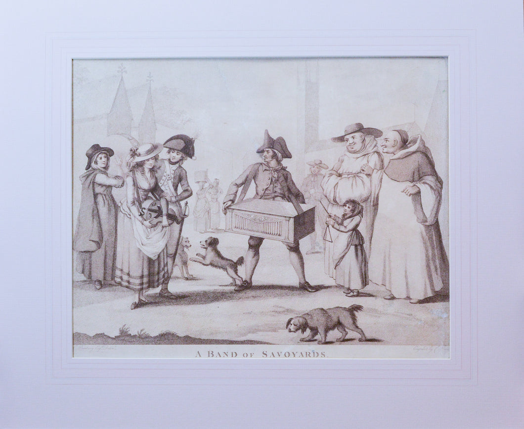 A Band of Savoyards - Antique Stipple Engraving 1785