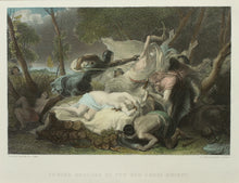 Load image into Gallery viewer, Serena Rescued by the Red-Cross Knight - Antique Steel Engraving circa 1860s