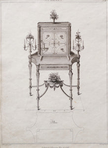 Cabinet Design by T Sheraton - Antique Copper Engraving 1793