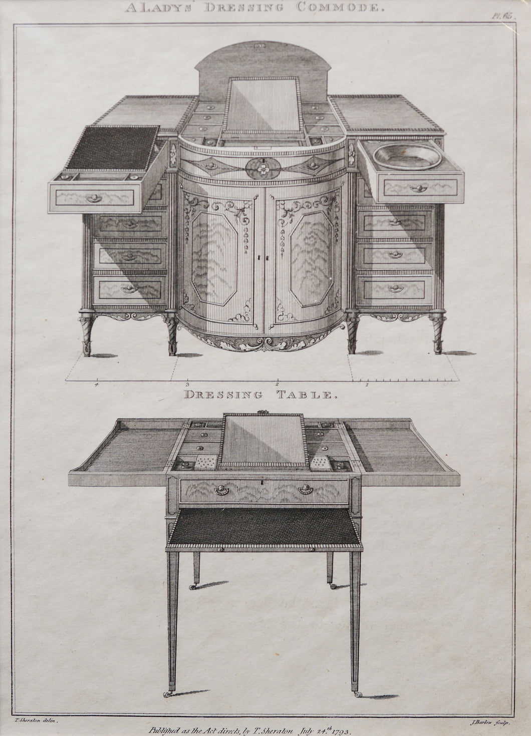 A Ladys Dressing Commode & Dressing Table by T Sheraton - Antique Copper Engraving 1793