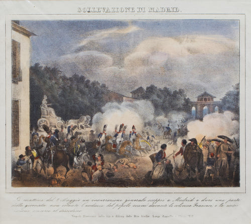 Sollevazione di Madrid - Antique Lithograph circa 1820
