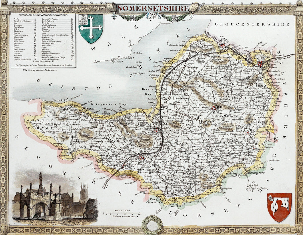 Somersetshire - Antique Map by Thomas Moule 1836 - 1848