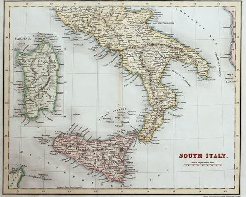 South Italy - Antique Map circa 1836