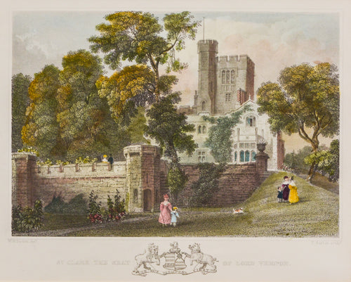 St Clare the Seat of Lord Vernon - Steel Engraving circa 1836