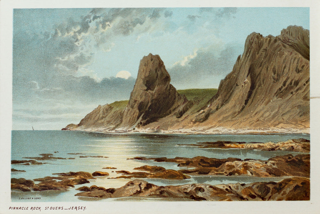 Pinnacle Rock St Ouens, Jersey - Antique Chromolithograph circa 1880