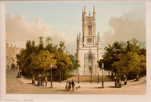 Saint Peters Church Brighton - Chromolithograph circa 1880
