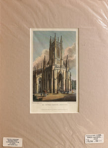 St Peters Church, Brighton - Steel Engraving circa 1829