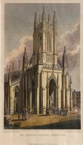 St Peter's Church, Brighton - Steel Engraving, circa 1829