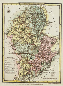 Staffordshire - Antique Map by J Roper, circa 1808