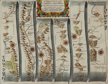 Load image into Gallery viewer, The Road from St Davids to Holywell - Antique Ribbon Map circa 1675