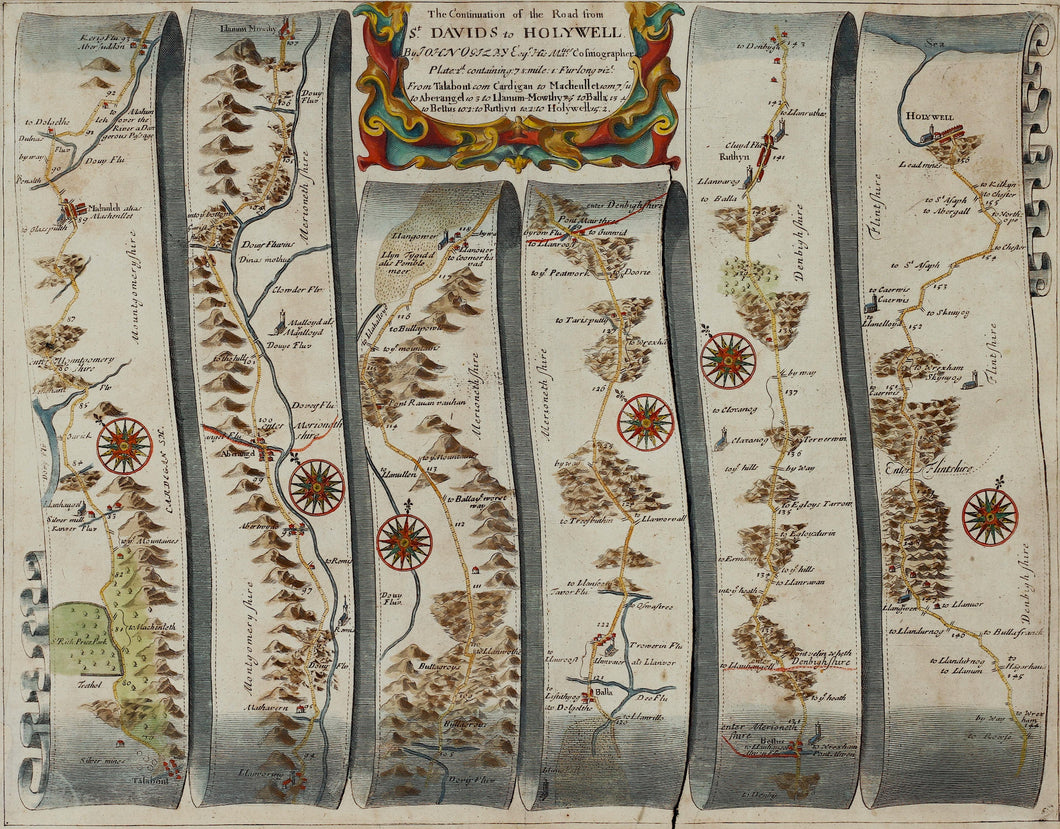 The Road from St Davids to Holywell - Antique Ribbon Map circa 1675
