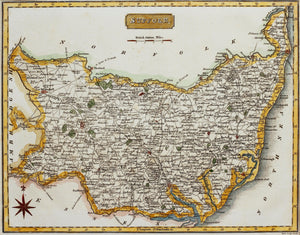 Suffolk - Antique Map by Neele circa 1819