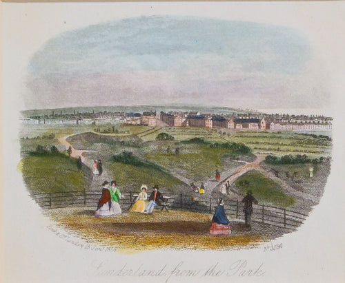 Sunderland from the Park - Antique Steel Engraving circa 1858