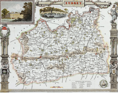 Surrey - Antique Map by Thomas Moule circa 1838