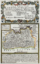 Load image into Gallery viewer, The Road from London to Chichester - Antique Map by Owen Bowen circa 1720