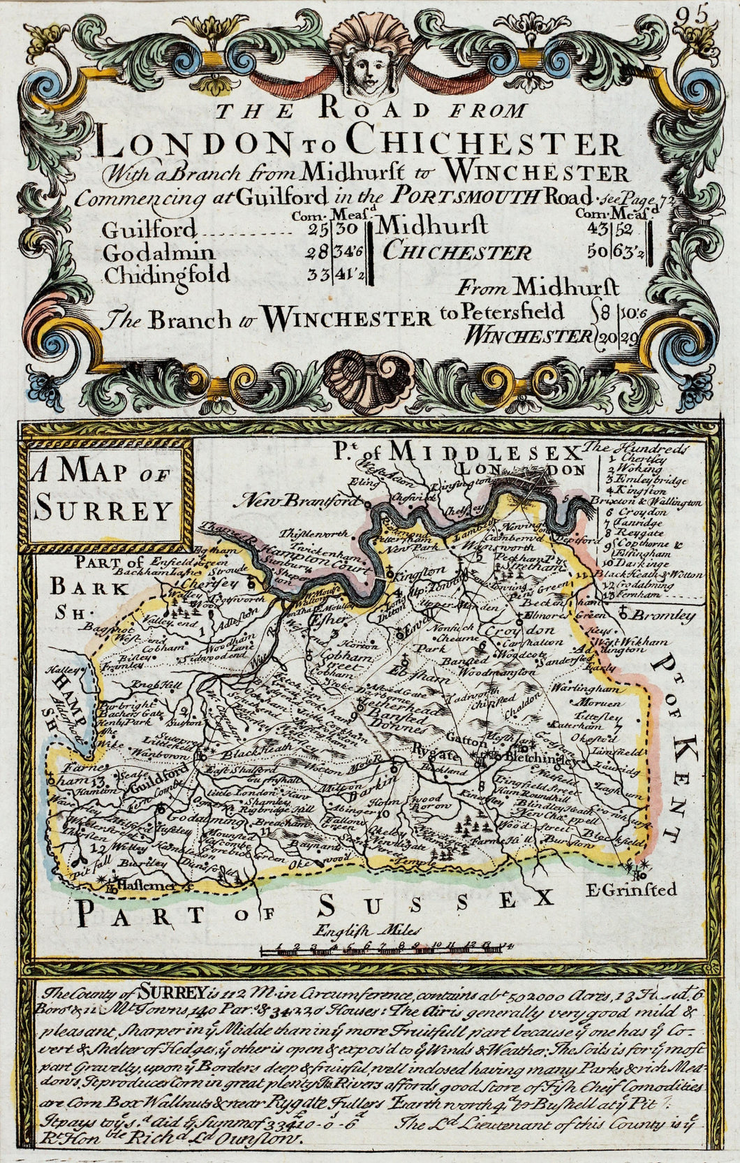 The Road from London to Chichester - Antique Map by Owen Bowen circa 1720