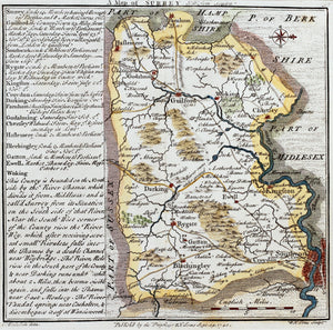 A Map of Surrey - Antique Map by WH Toms 1742