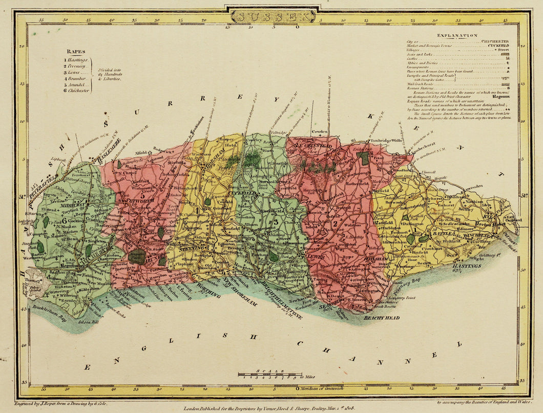 Sussex - Antique Map by J Roper 1808