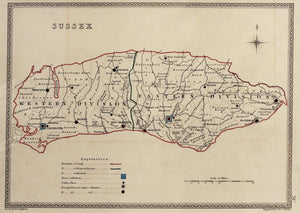 Sussex - Antique Map by J&C Walker circa 1838